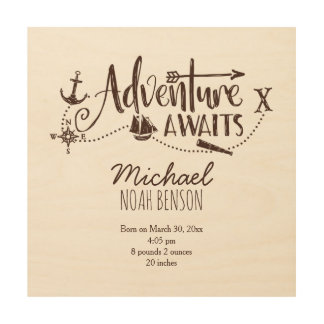 """Adventure Awaits"" Nautical Nursery Birth Stats Wood Wall Art"