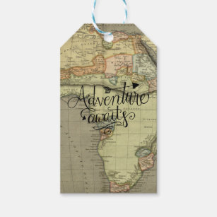 Adventure Awaits Old World Map Gift Tags
