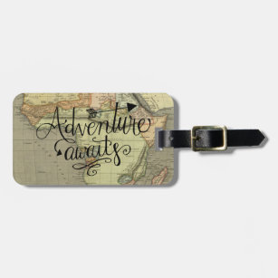 Adventure Awaits Old World Map Luggage Tag