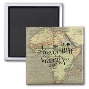 Adventure Awaits Old World Map Magnet