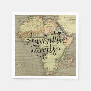 Adventure Awaits Old World Map Napkin