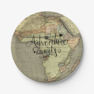 Adventure Awaits Old World Map Paper Plate