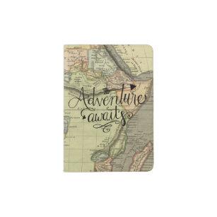 Adventure Awaits Old World Map Passport Holder