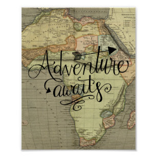 Adventure Awaits Old World Map Poster