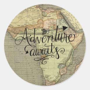 Adventure Awaits Old World Map Sticker