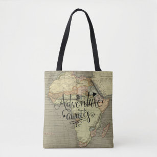 Adventure Awaits Old World Map Tote Bag