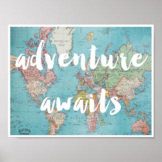 Adventure Awaits on Vintage World Map Poster