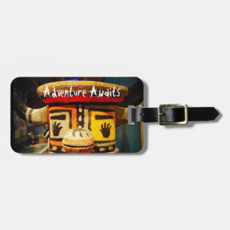 """""""Adventure Awaits"""" Quote Cute Funny Face Photo Luggage Tag"""