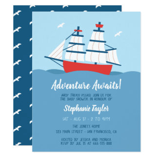Adventure Awaits Sailing Ship Nautical Baby Shower Card