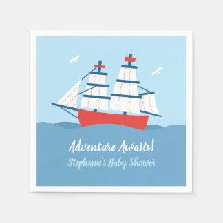 Adventure Awaits Ship Nautical Baby Shower Napkins Disposable Serviette