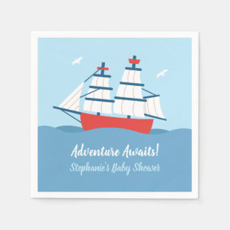 Adventure Awaits Ship Nautical Baby Shower Napkins Paper Napkins