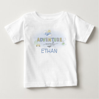 Adventure Awaits Travel Car Plane Boat Personalise Baby T-Shirt