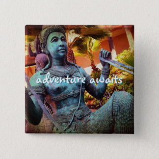 """Adventure awaits"" turquoise warrior statue photo 15 Cm Square Badge"