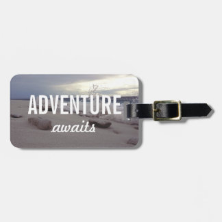 Adventure Awaits Typography Beach Waves Luggage Tag