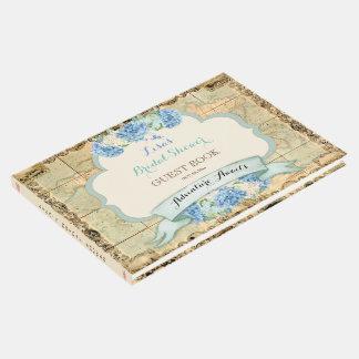 Adventure Awaits Vintage World Map Blue Hydrangeas