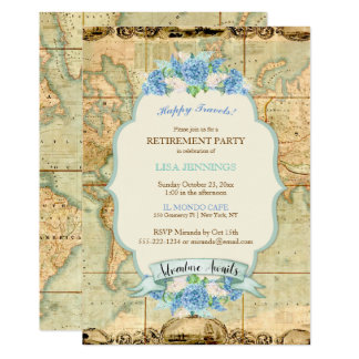 Adventure Awaits Vintage World Map Blue Hydrangeas Card