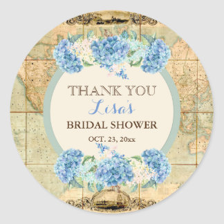 Adventure Awaits Vintage World Map Blue Hydrangeas Classic Round Sticker