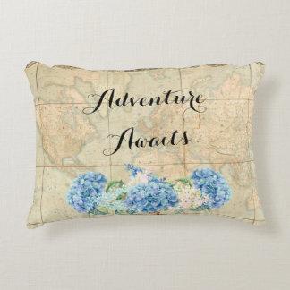 Adventure Awaits Vintage World Map Blue Hydrangeas Decorative Cushion