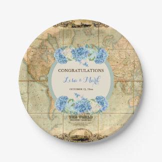 Adventure Awaits Vintage World Map Blue Hydrangeas Paper Plate