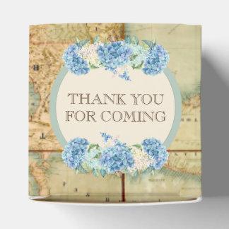 Adventure Awaits Vintage World Map Blue Hydrangeas Wedding Favour Boxes