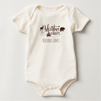 """Adventure Awaits"" Wilderness Personalized Baby Bodysuit"