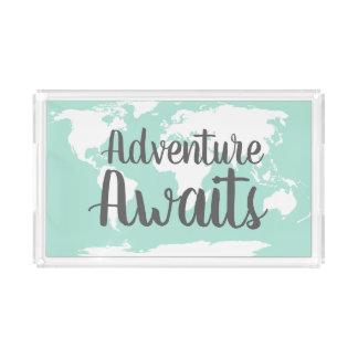 Adventure Awaits World Map & Mint Acrylic Tray