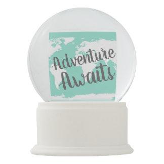 Adventure Awaits World Map & Mint Snow Globe