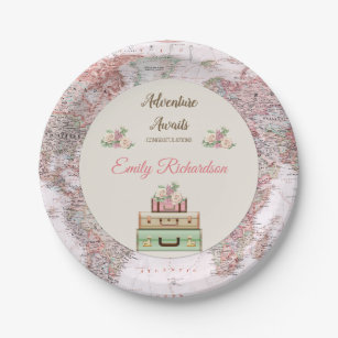 Adventure Awaits World Travel Map Pink Ivory Roses Paper Plate