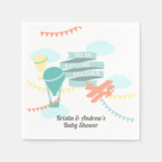 Adventure Baby Shower Airplane and Balloon Disposable Napkins