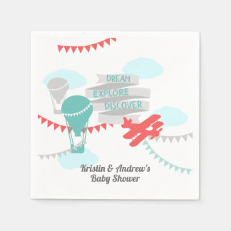 Adventure Baby Shower Airplane and Balloon Paper Napkins