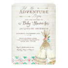 Adventure Baby Shower Girl Teepee Wood Arrows Art Card