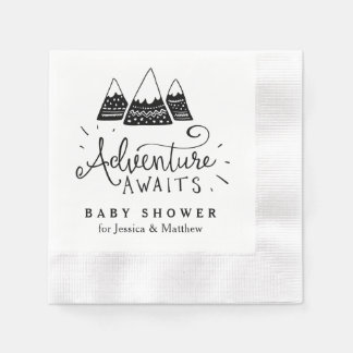 Adventure Baby Shower Napkins with Cute Mountains Paper Napkin