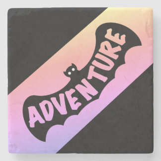 ADVENTURE BAT WITH COLOR STRIPE by Slipperywindow Stone Coaster