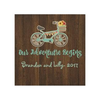 Adventure Begins Bike Wood Print