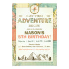 Adventure begins Birthday invitation Travel Map