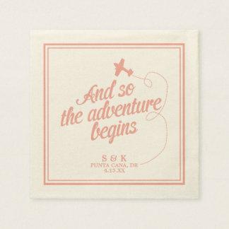 Adventure Begins   Destination Wedding - Pink Disposable Serviette