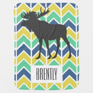 Adventure Blue Green Yellow Chevrons Moose & Name Buggy Blanket