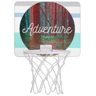 Adventure Forest Circle, Striped Background Mini Basketball Hoop