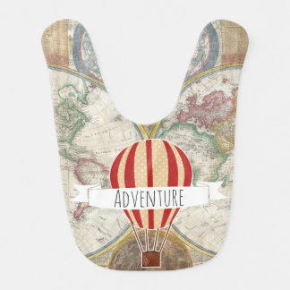 Adventure Hot Air Balloon Vintage Traveler Bib