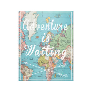 World map canvas prints wall art zazzle adventure is waiting vintage world map canvas gumiabroncs Images