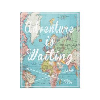 Adventure is Waiting Vintage World Map Canvas Canvas Print
