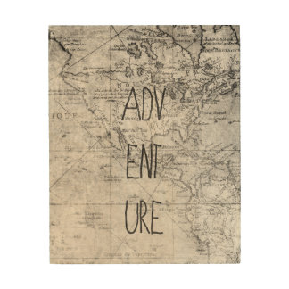 Adventure map wood wall decor