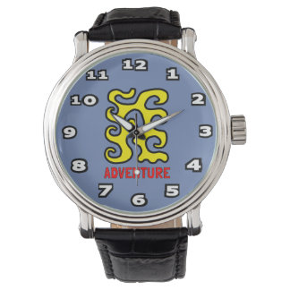 """Adventure"" Mens Black Vintage Leather Watch"