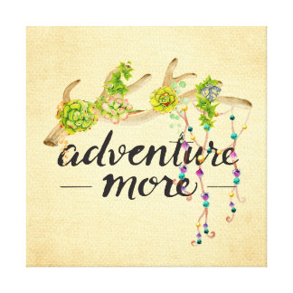 Adventure More Boho Antler Canvas Print