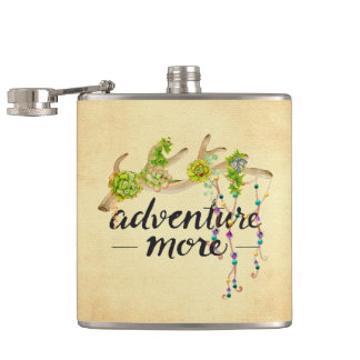 Adventure More Boho Antler Hip Flask