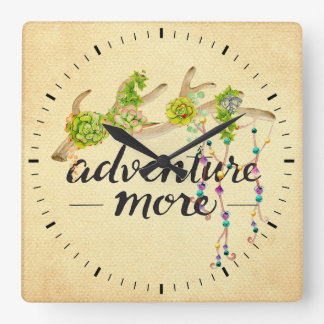 Adventure More Boho Antler Square Wall Clock