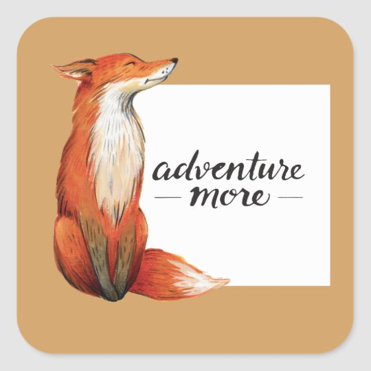adventure more fox square sticker