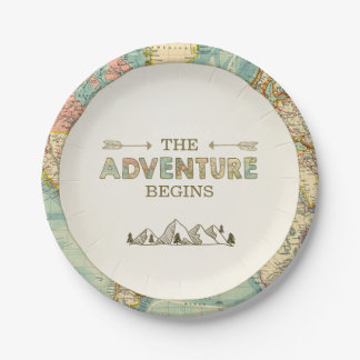 Adventure Paper Plates Travel World map Shower