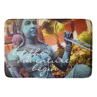 """Adventure"" Quote Asian Blue Warrior Statue Photo Bath Mat"