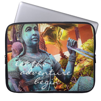 """Adventure"" Quote Asian Blue Warrior Statue Photo Laptop Sleeve"